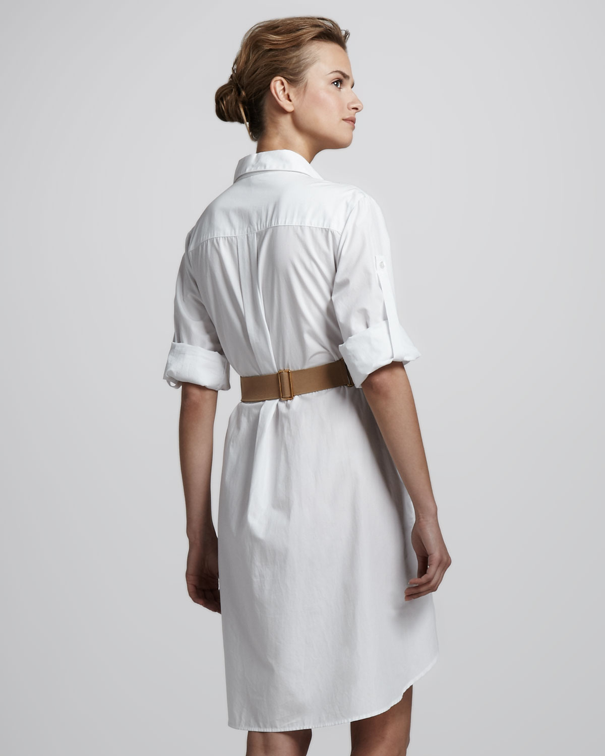 Halston belted shirt dress in white lyst for Halston heritage shirt dress