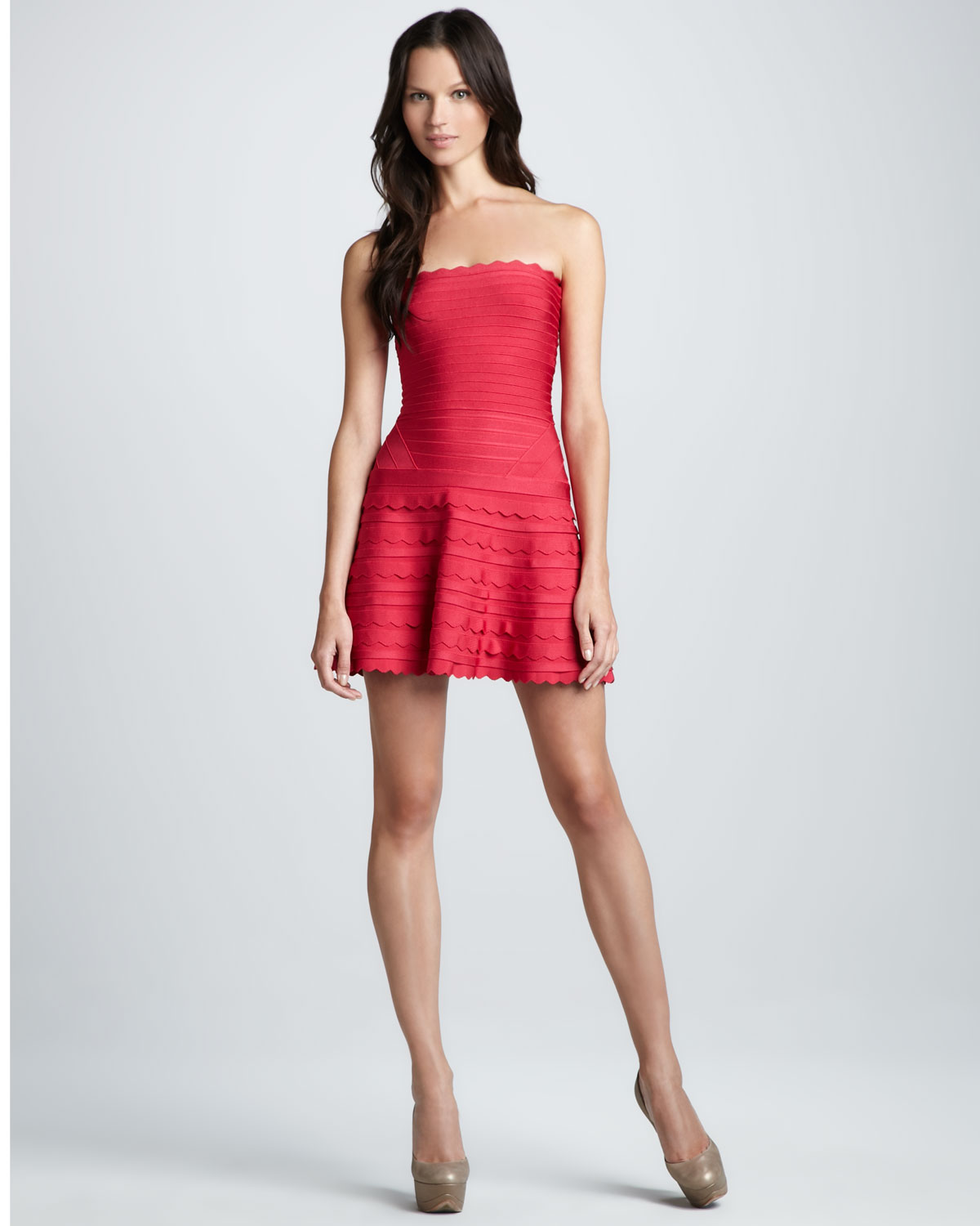 lyst herv l ger strapless bandage minidress with scalloped accents in red. Black Bedroom Furniture Sets. Home Design Ideas