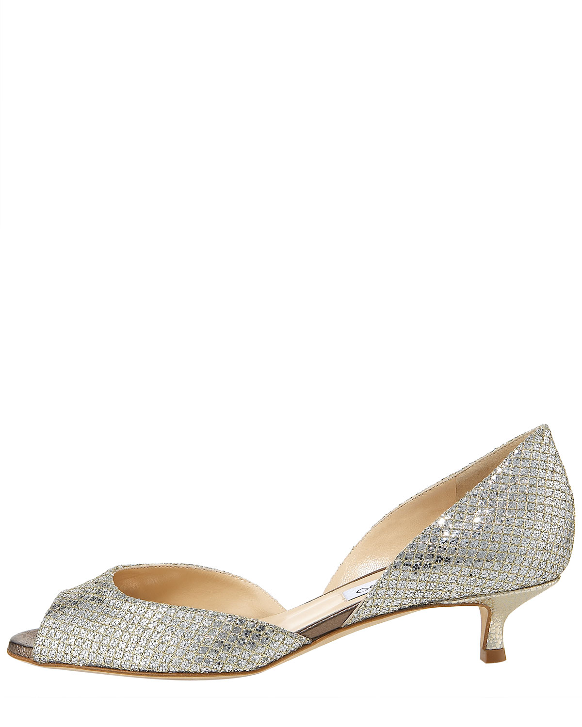 Jimmy choo Lyon Glittered Kitten Heel Dorsa in Metallic | Lyst