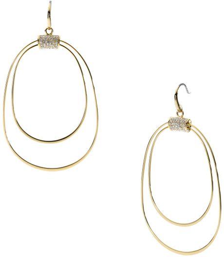 michael kors pave orbital whisper hoop earrings in