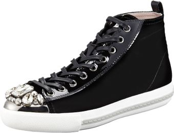 Miu Miu Bejeweled Velvet High Tops - Lyst
