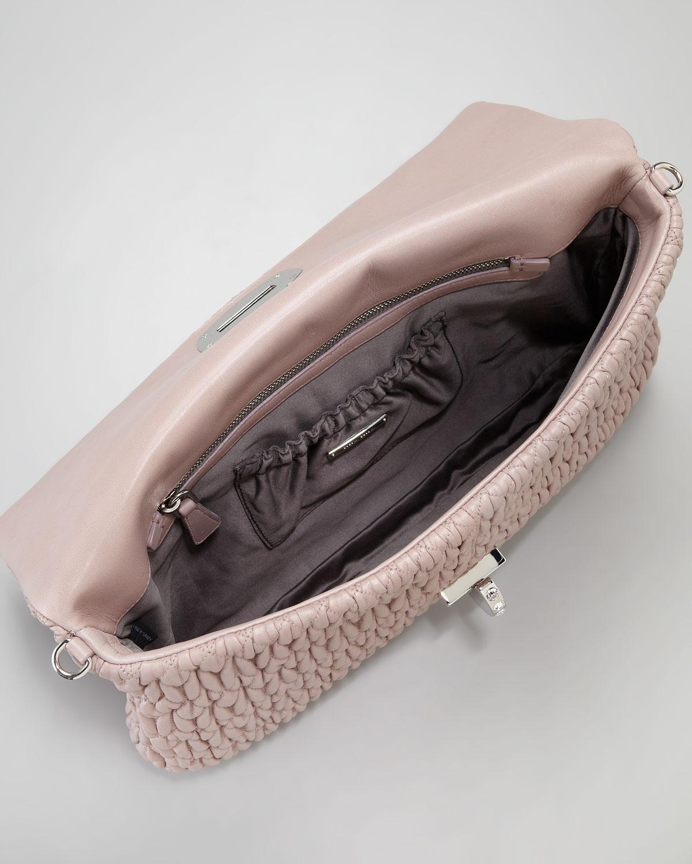 af1ae3fbed6 Lyst - Miu Miu Jewel-Handle Large Clutch Bag in Pink