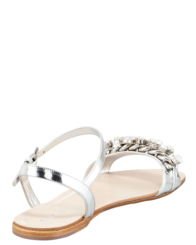 421667644 Lyst - Miu Miu Crystal Strap Flat Sandal Silver in Metallic