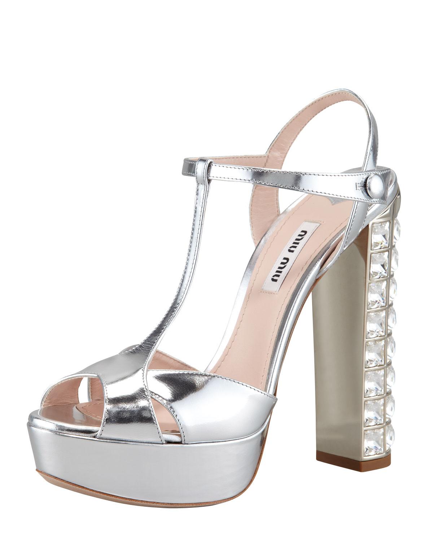 3e96071be591 Lyst - Miu Miu Jeweled Heel Sandal in Metallic