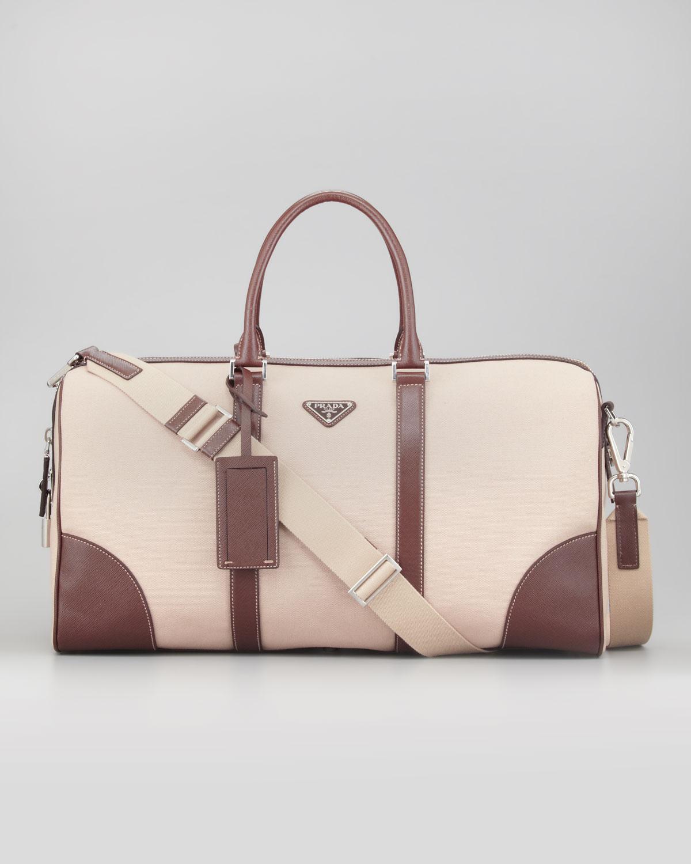15ca6c297176a5 Prada Canvas Leather Trim Duffle Bag in Natural for Men - Lyst