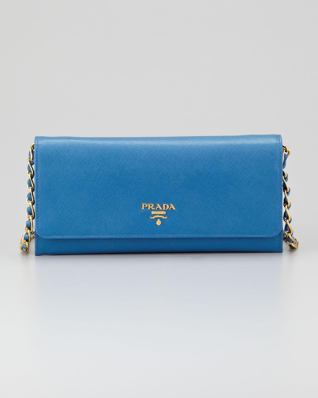 b6893af097eb ... shopping lyst prada saffiano wallet on a chain cobalt in blue ddda6  c5b84 ...