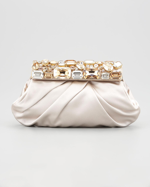 83aa7cbdb81b ... promo code for lyst prada jeweled satin clutch bag in black 0e799 787ff