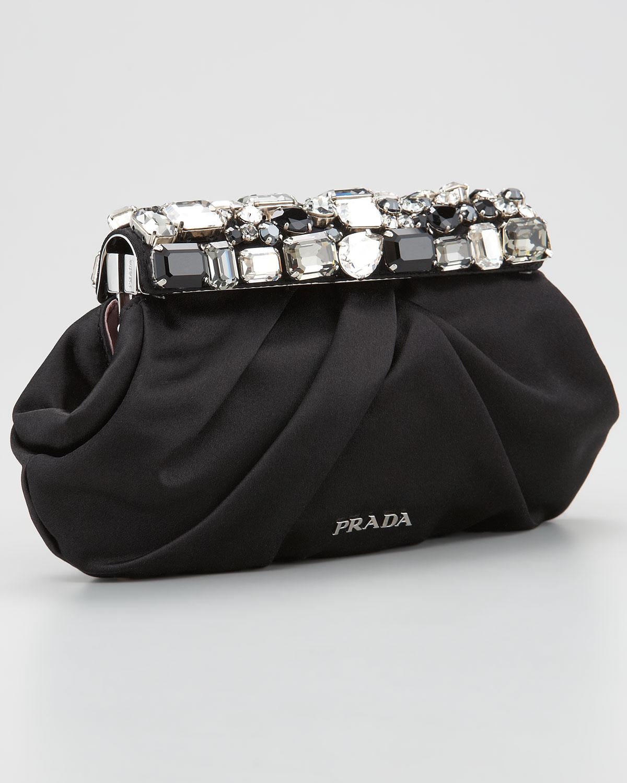 ... promo code for lyst prada jeweled satin clutch bag in black 109f7 9f00d d215290ccf996