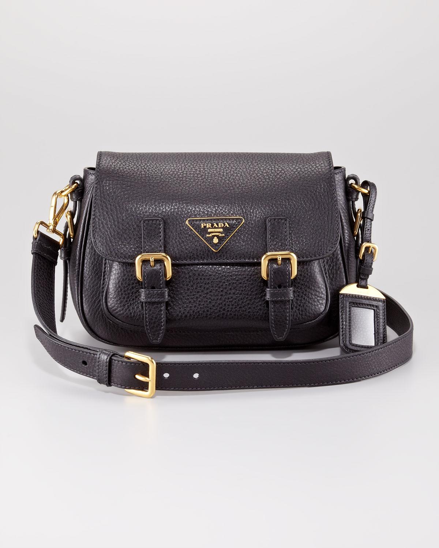 9923316be75193 Prada Vitello Daino Messenger Bag in Black - Lyst
