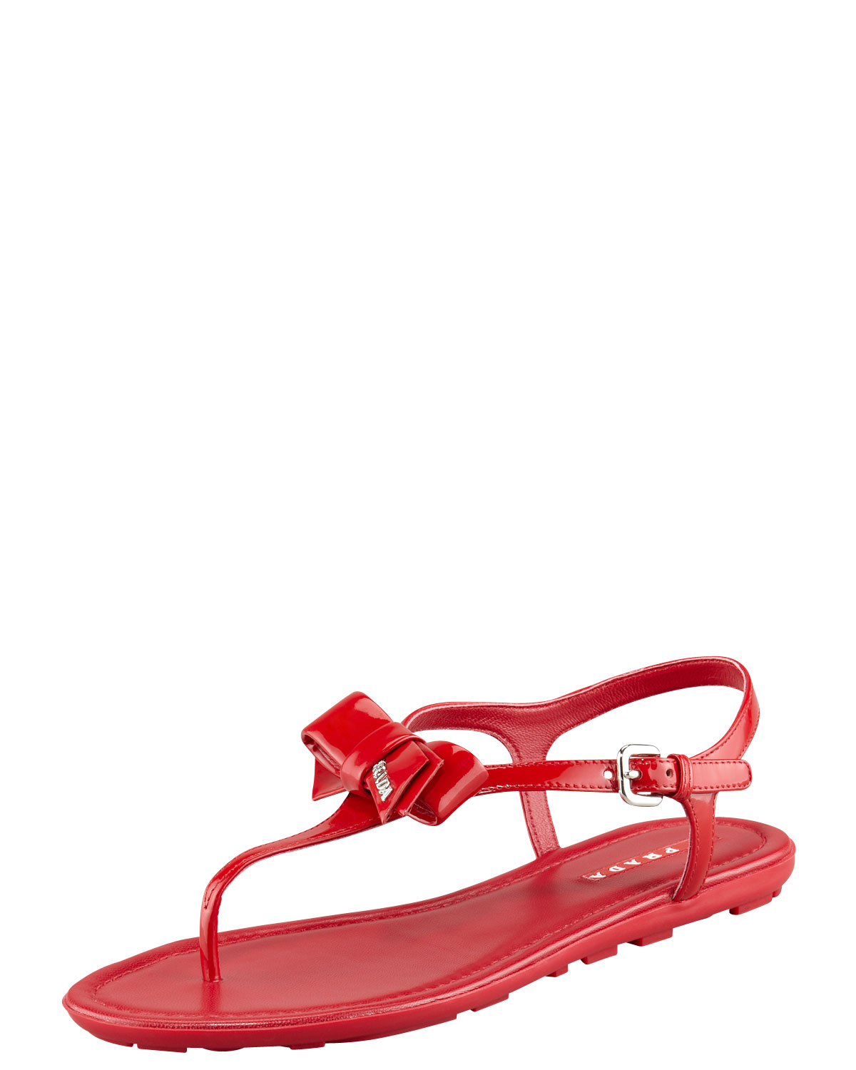 Lyst Prada Patent Leather Bow Thong Sandal In Red