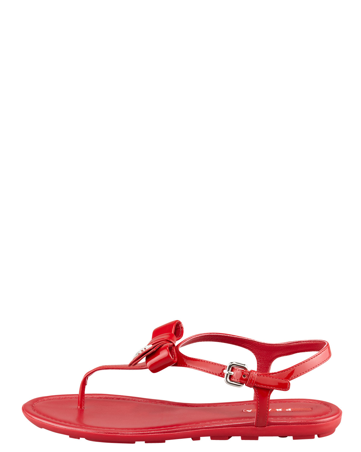 6a894e9f0 Prada Patent Leather Bow Thong Sandal in Red