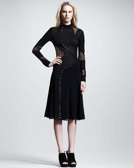 Proenza Schouler Long Sleeve Pieced Dress in Black