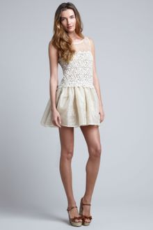 RED Valentino Lace-Embroidered Organza Dress Ivory - Lyst