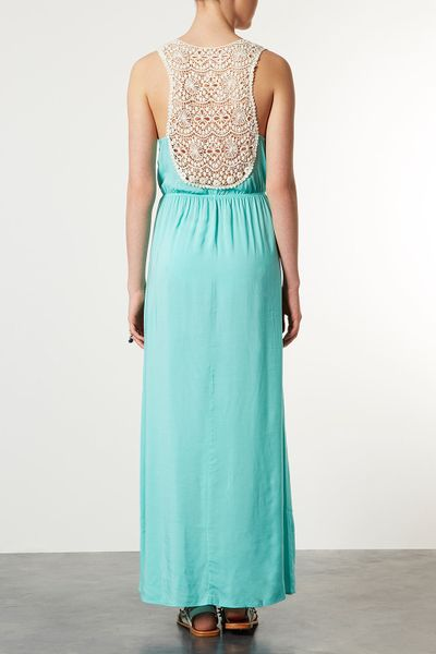 Topshop Mint Crochet Maxi Cover Up In Blue Mint Lyst