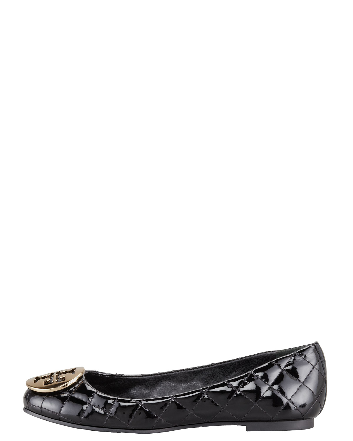 Tory Burch Quinn Quilted Patent Ballerina Flat In Black Lyst