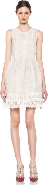 Valentino Chomomile Embroidered Organza Dress in Ivory in White (ivory)