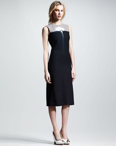 Victoria Beckham Moonprint Colorblock Dress in Blue (teal/cloudy moon)