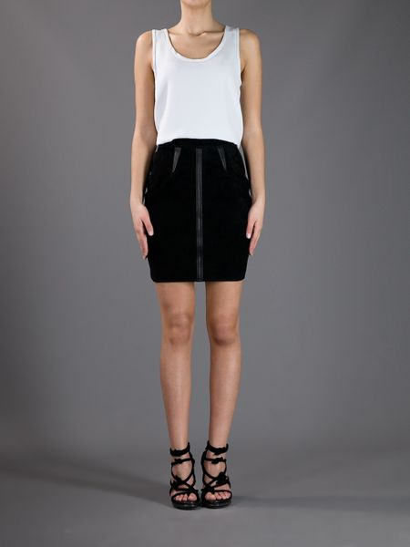 wang paneled mini pencil skirt in black lyst