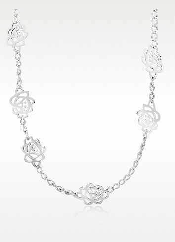 Kenzo Sofya Sterling Silver Cutout Flower Necklace In