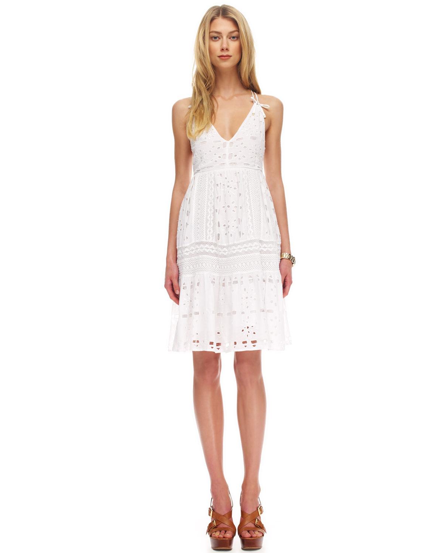 Lyst - Michael kors Sleeveless Eyelet Dress in White