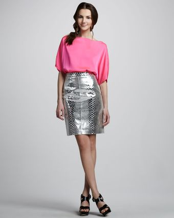 Milly Mirrored Leather Skirt - Lyst