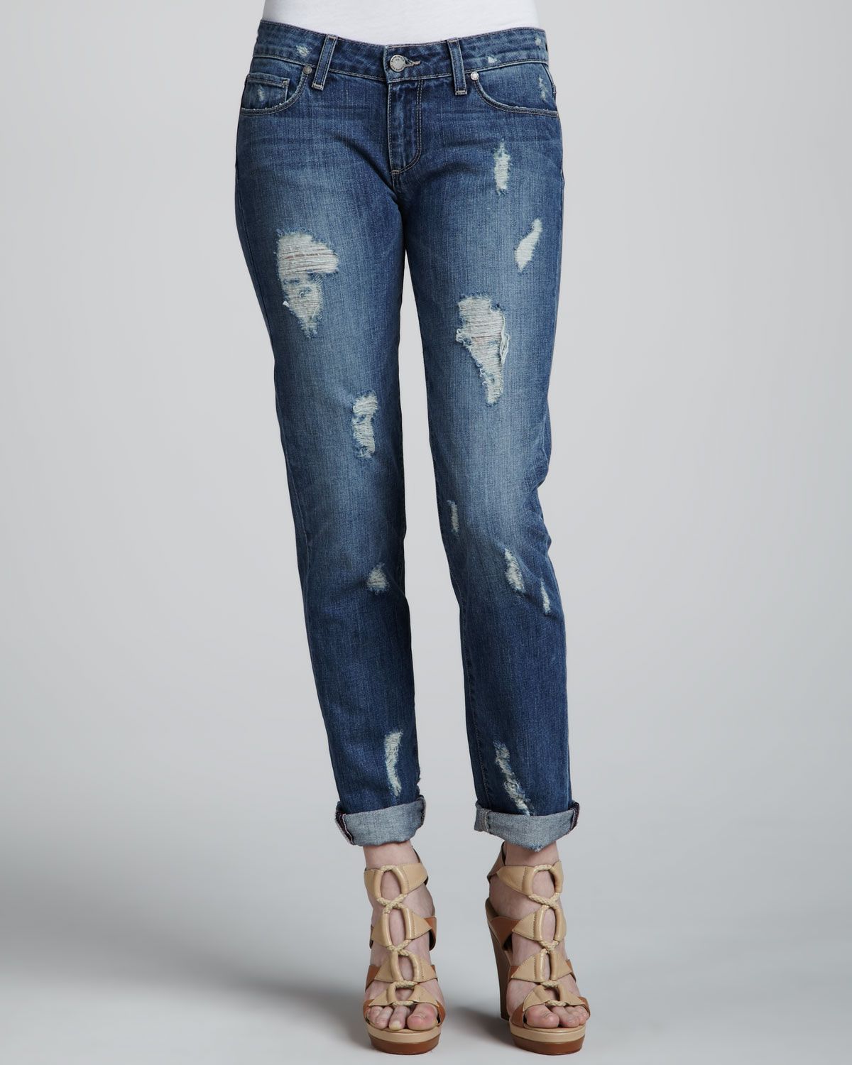 Paige Jimmy Deconstructed Cuffed Jeans in Blue | Lyst