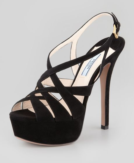 Prada Crisscross Suede Platform Sandal In Black Nero Lyst