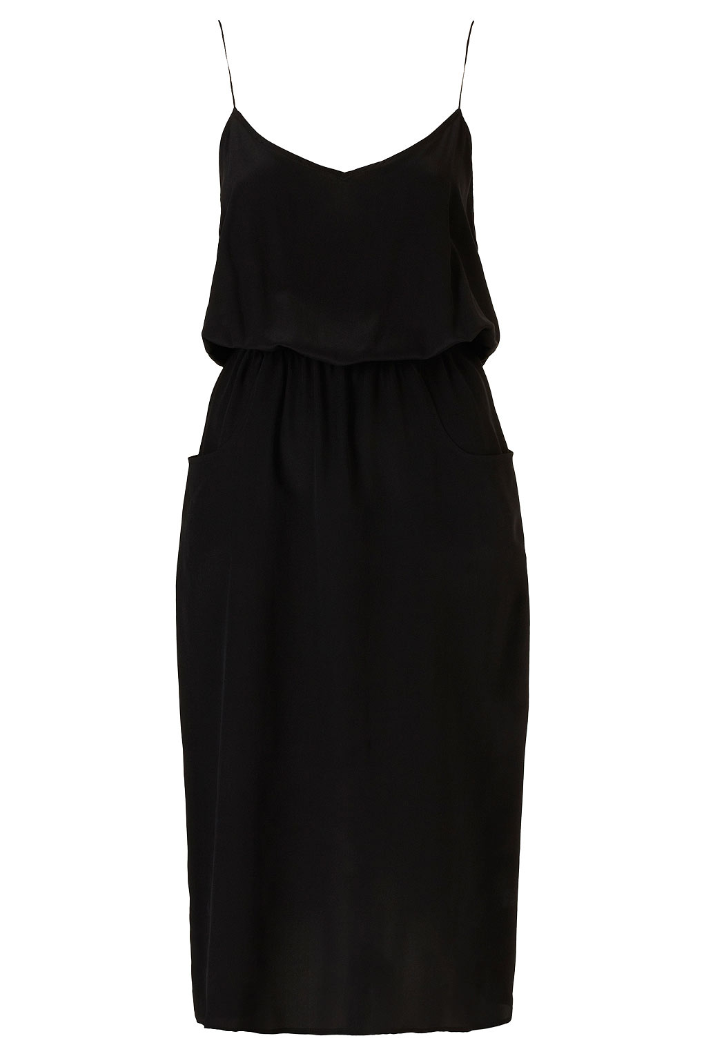 Topshop Silk Midi Pocket Dress By Boutique in Black | Lyst