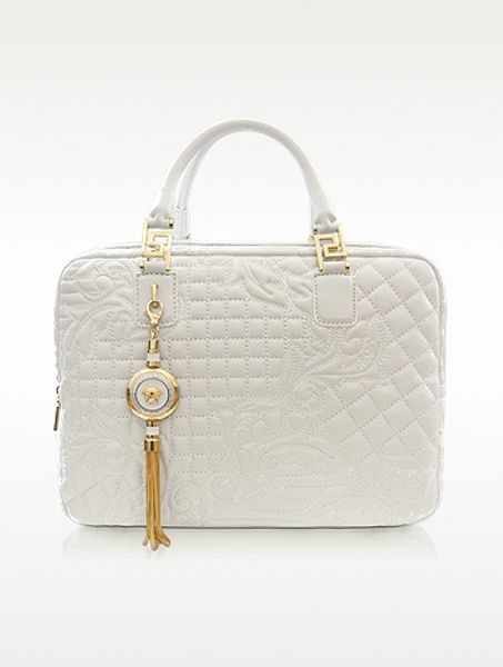 Versace Demetra Vanitas Large White Quilted Leather Satchel in White