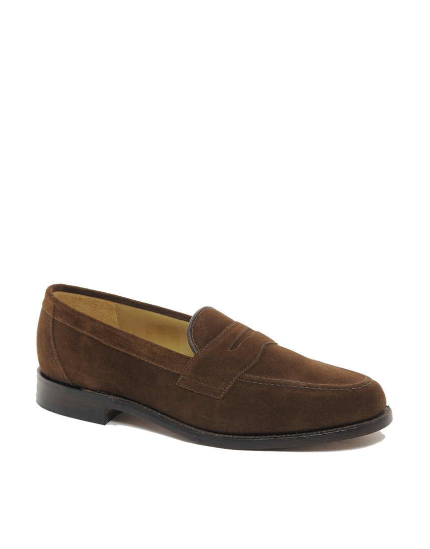 87ffe7be901d5 Loake Eton Suede Penny Loafers in Brown for Men - Lyst