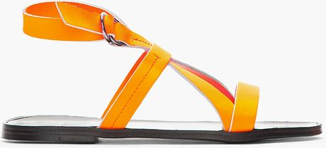 Pierre Hardy Neon Orange Leather Eh60 Gladiator Sandals in Orange for Men