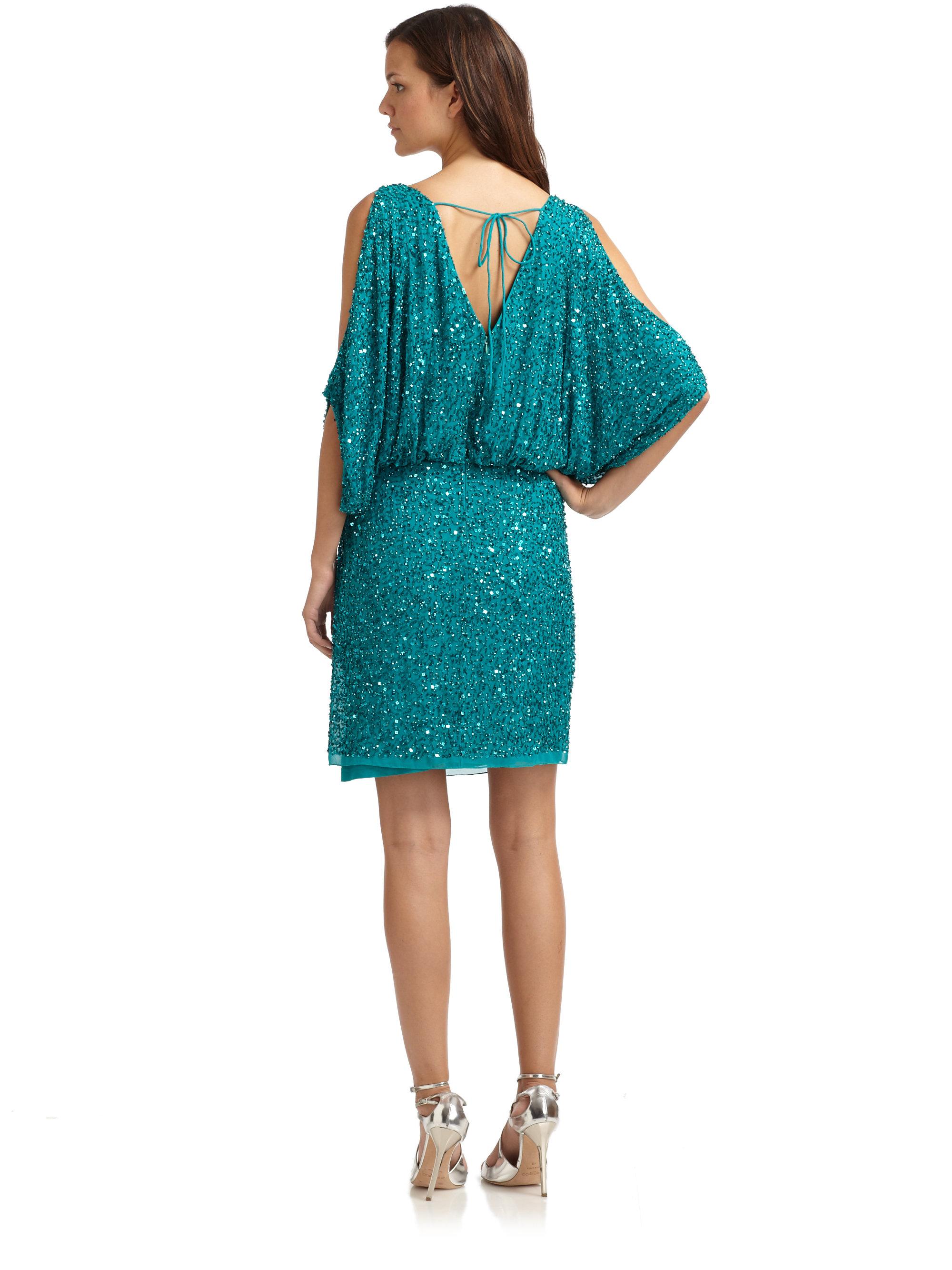 Aidan mattox Sequin Shoulder Cutout Cocktail Dress in Blue | Lyst