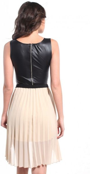 Akira Accordion Pleated Pleather Dress In Brown Taupe Lyst