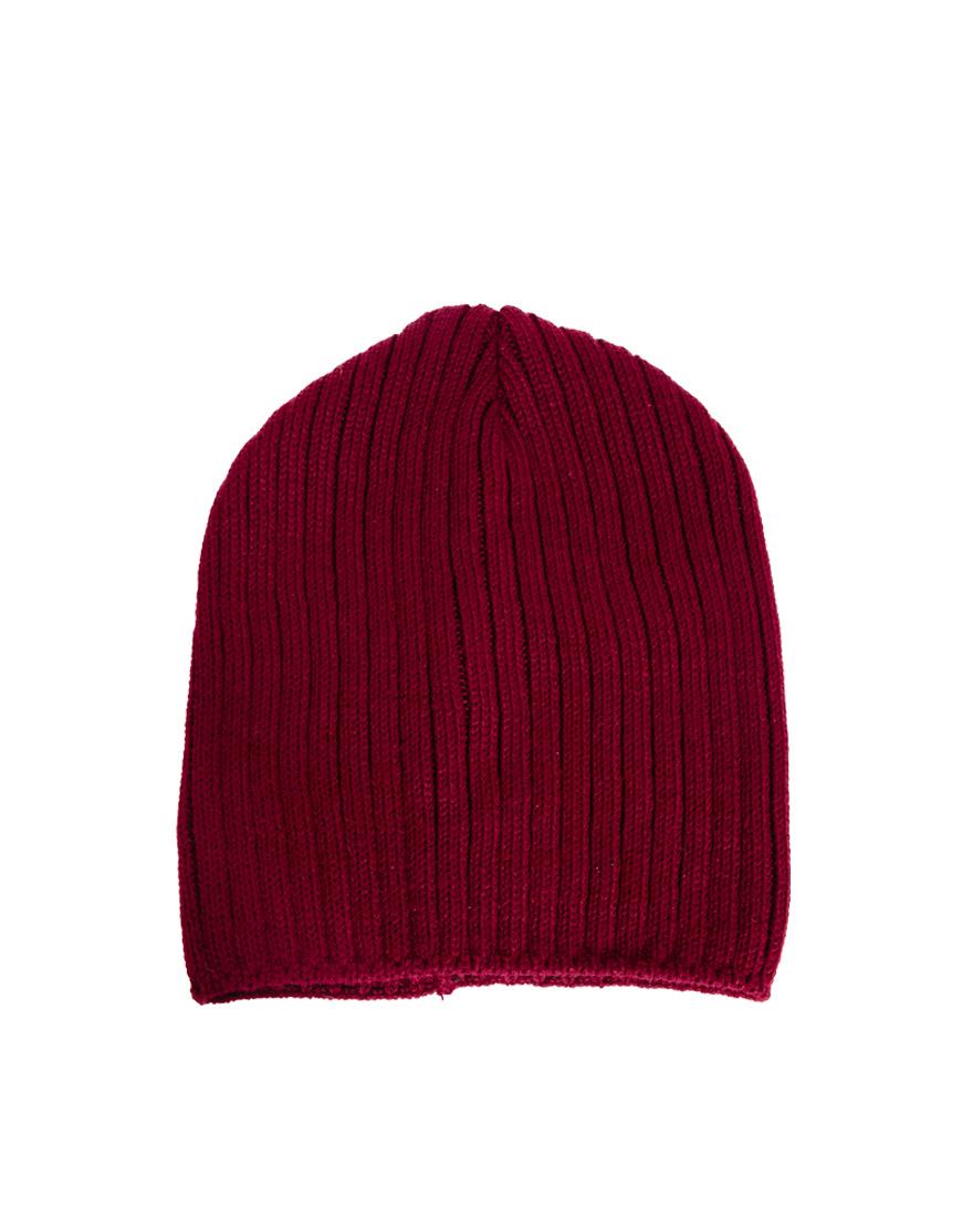 33525f6c3b579 Lyst - ASOS Short Rib Knit Beanie in Red for Men