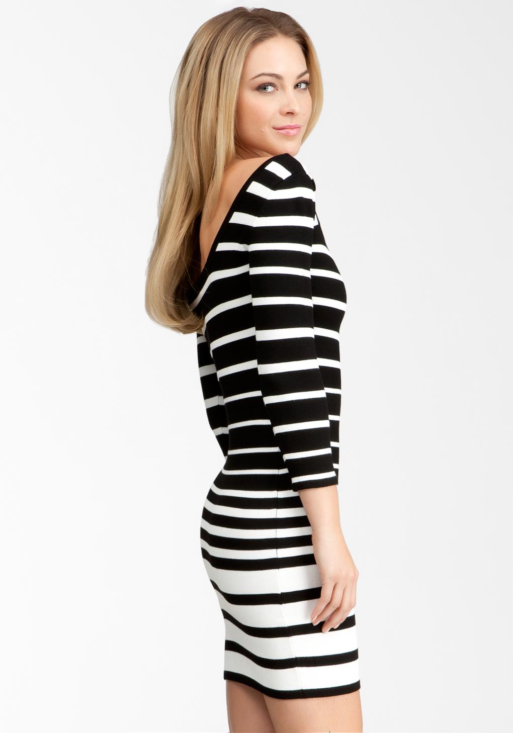 f47ce59cab3 Bebe Wide Multi Stripe Sweater Dress in White - Lyst