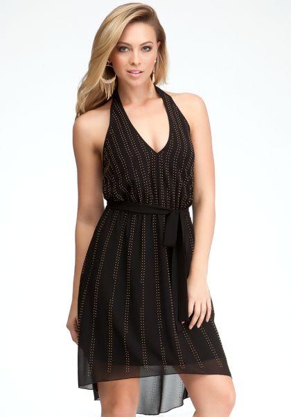 Bebe Halter Hilo Studded Dress In Black Blk Lyst