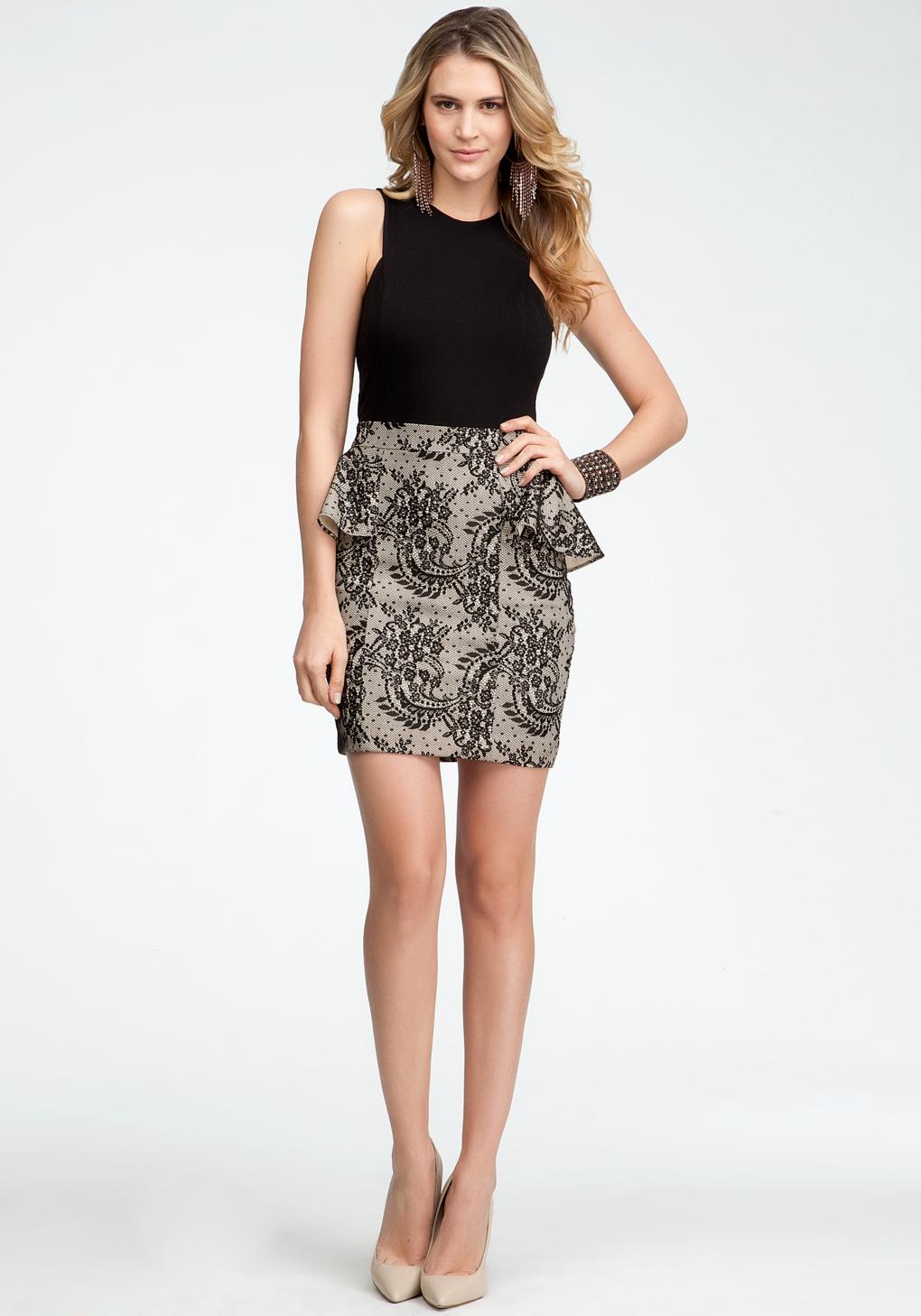 Bebe Lace Jersey Peplum Dress In Black Lyst