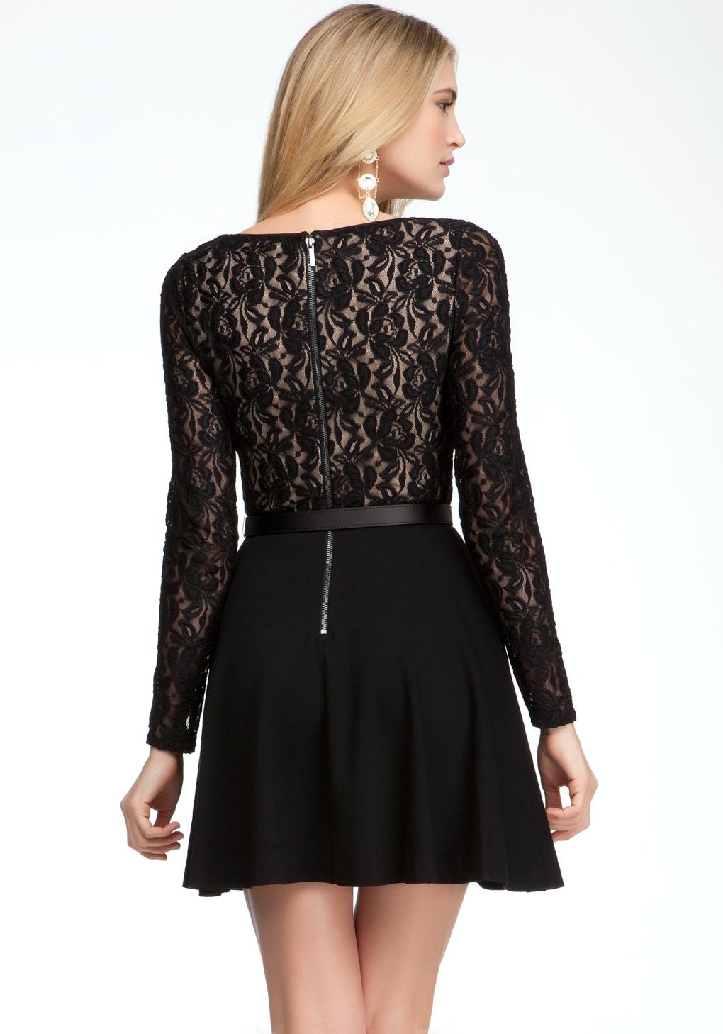 Bebe Long Sleeve Fit Flare Dress In Black Lyst