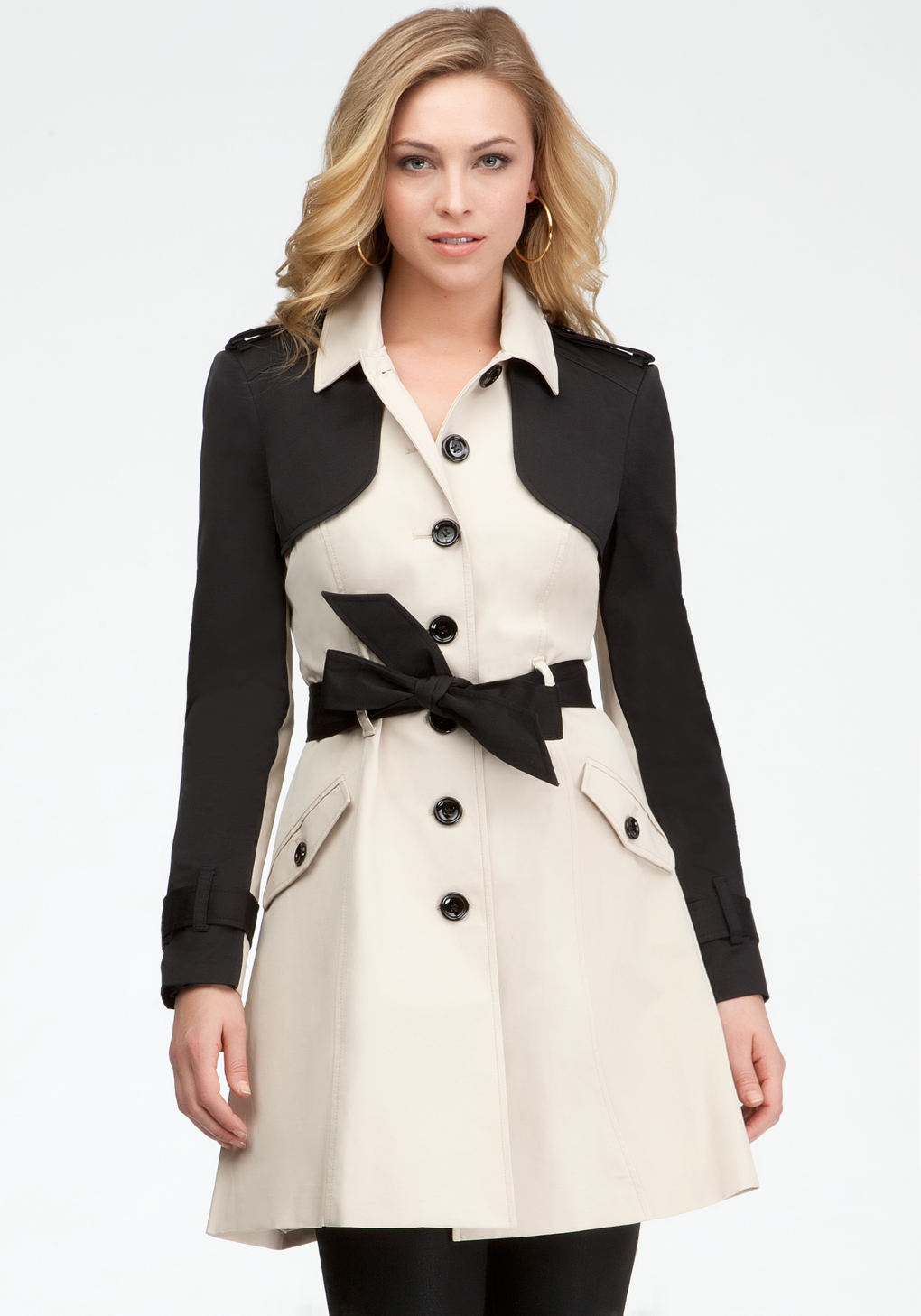 Bebe Colorblock Fit Flare Trench Coat In Natural Lyst