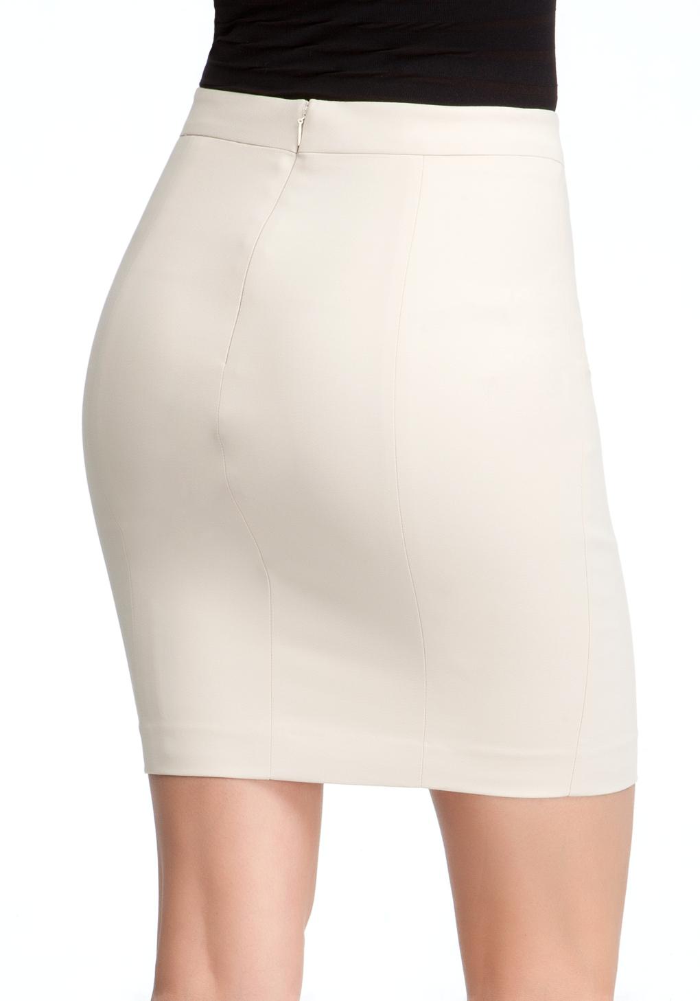 bebe mini pencil skirt in white lyst