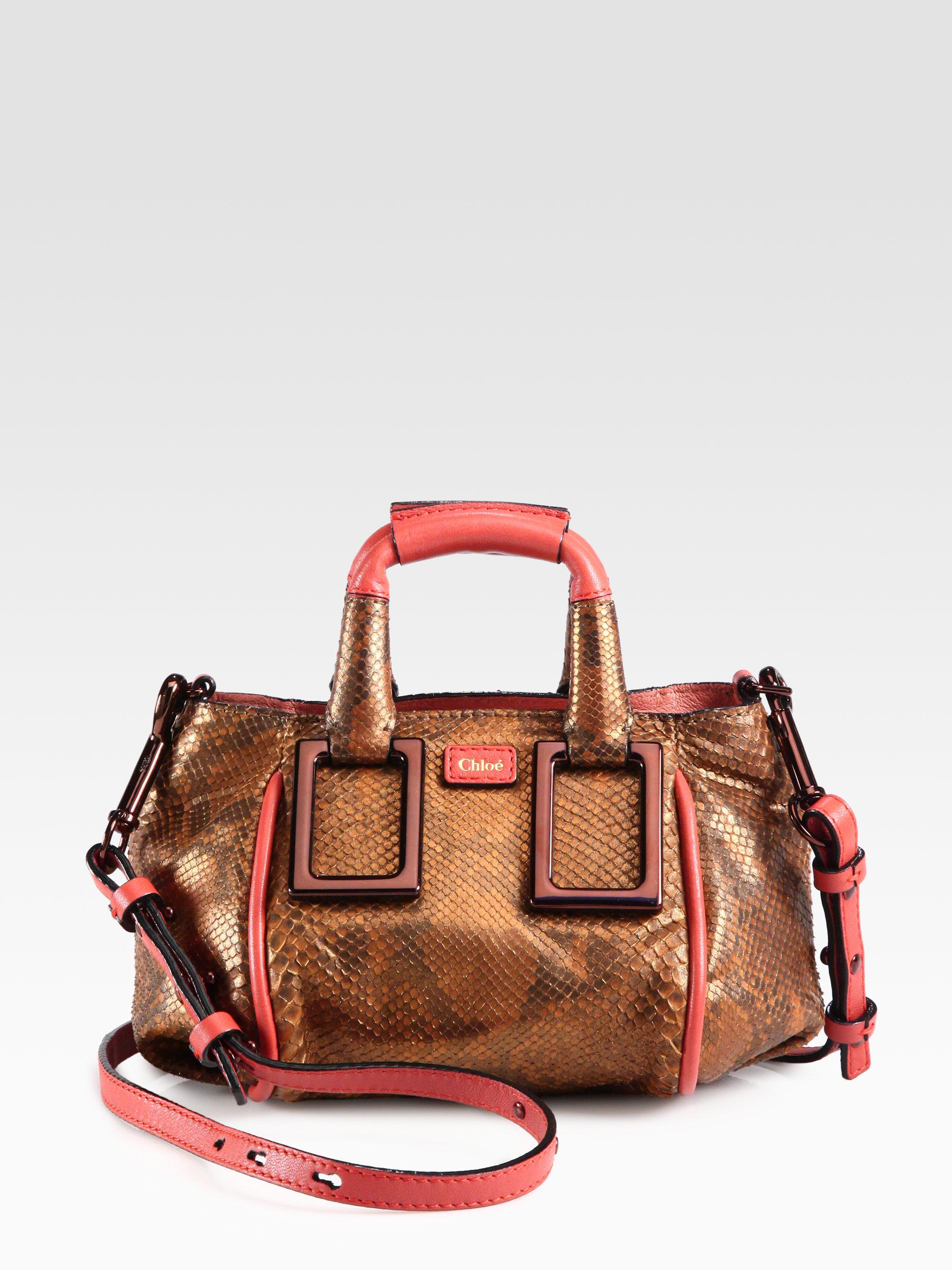 Lyst Chlo 233 Mini Python Ethel Crossbody Bag In Brown