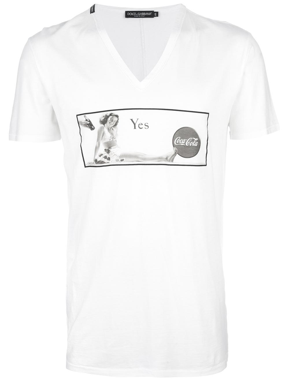 Dolce gabbana coca cola printed t shirt in white for men for Dolce and gabbana printed t shirts