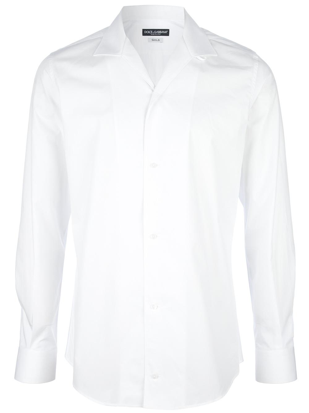 Dolce Amp Gabbana Open Collar Shirt In White For Men Lyst