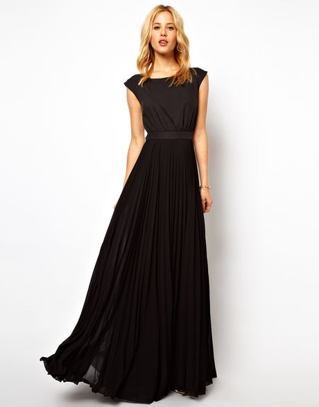 mango maxi dress with pleat skirt and open back in black