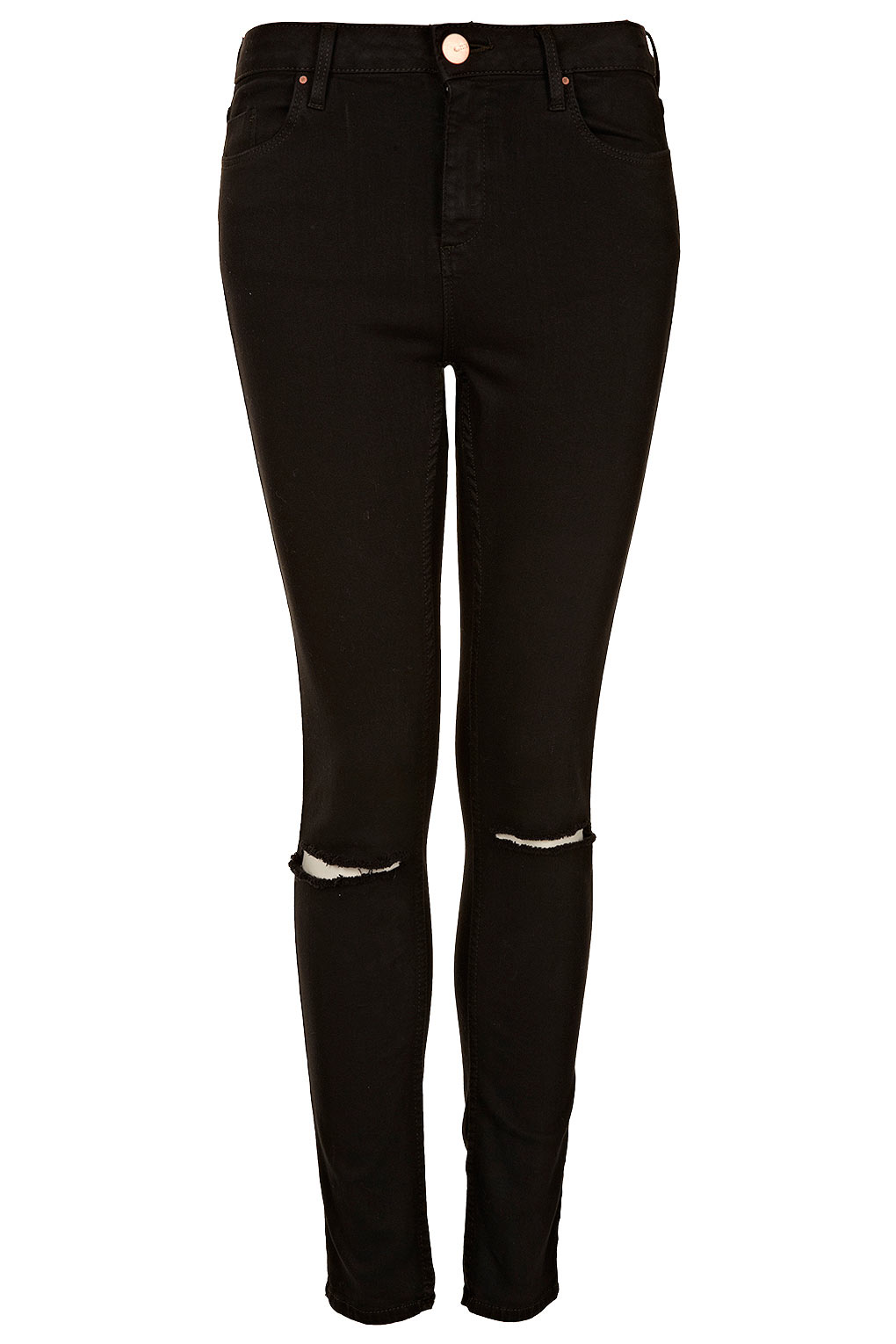 Topshop Black Rip Knee Jamie Jeans in Black | Lyst