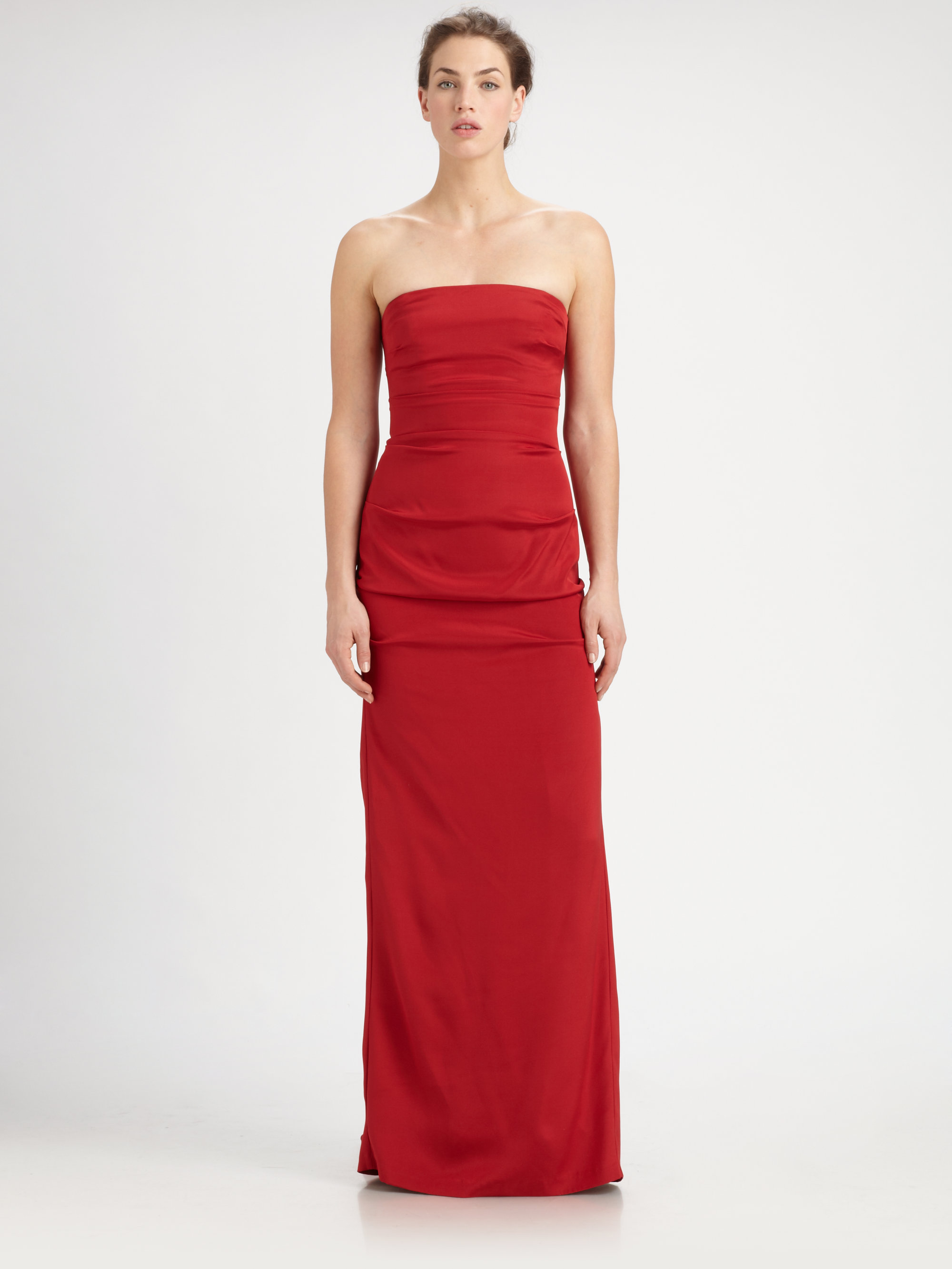 Lyst - Nicole Miller Strapless Gown in Red