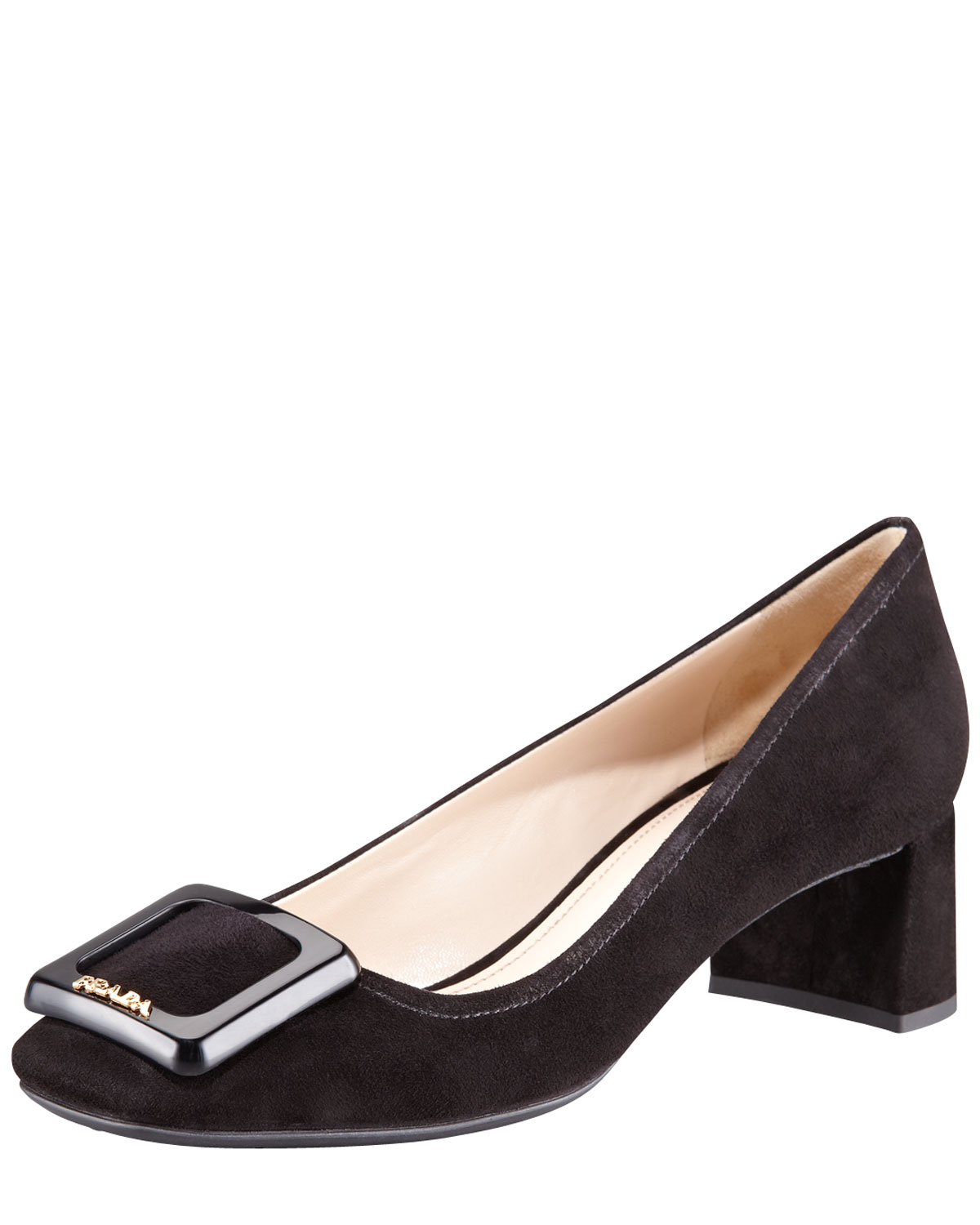 Square Toe Block Heel Court Shoes