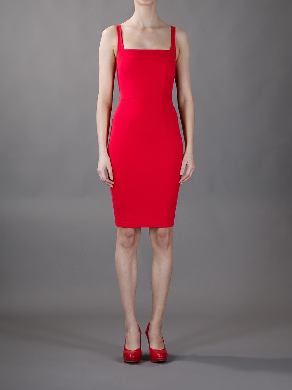6cd1056cf8 Stella McCartney Sleeveless Bodycon Dress in Red - Lyst