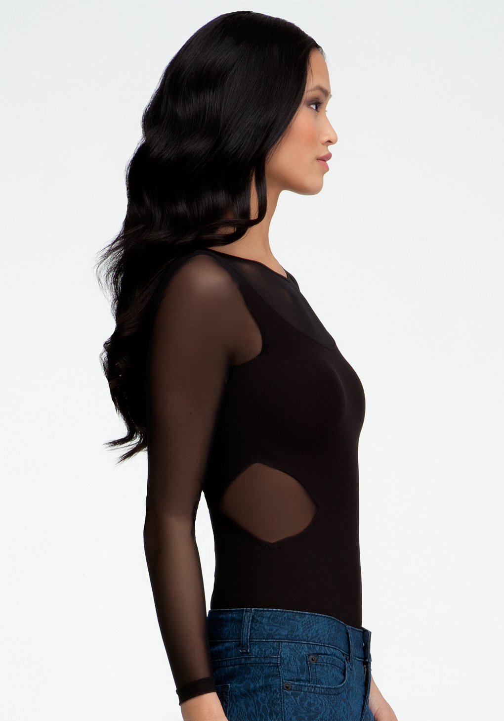 Lyst Bebe Long Sleeve Mesh Inset Bodysuit In Black