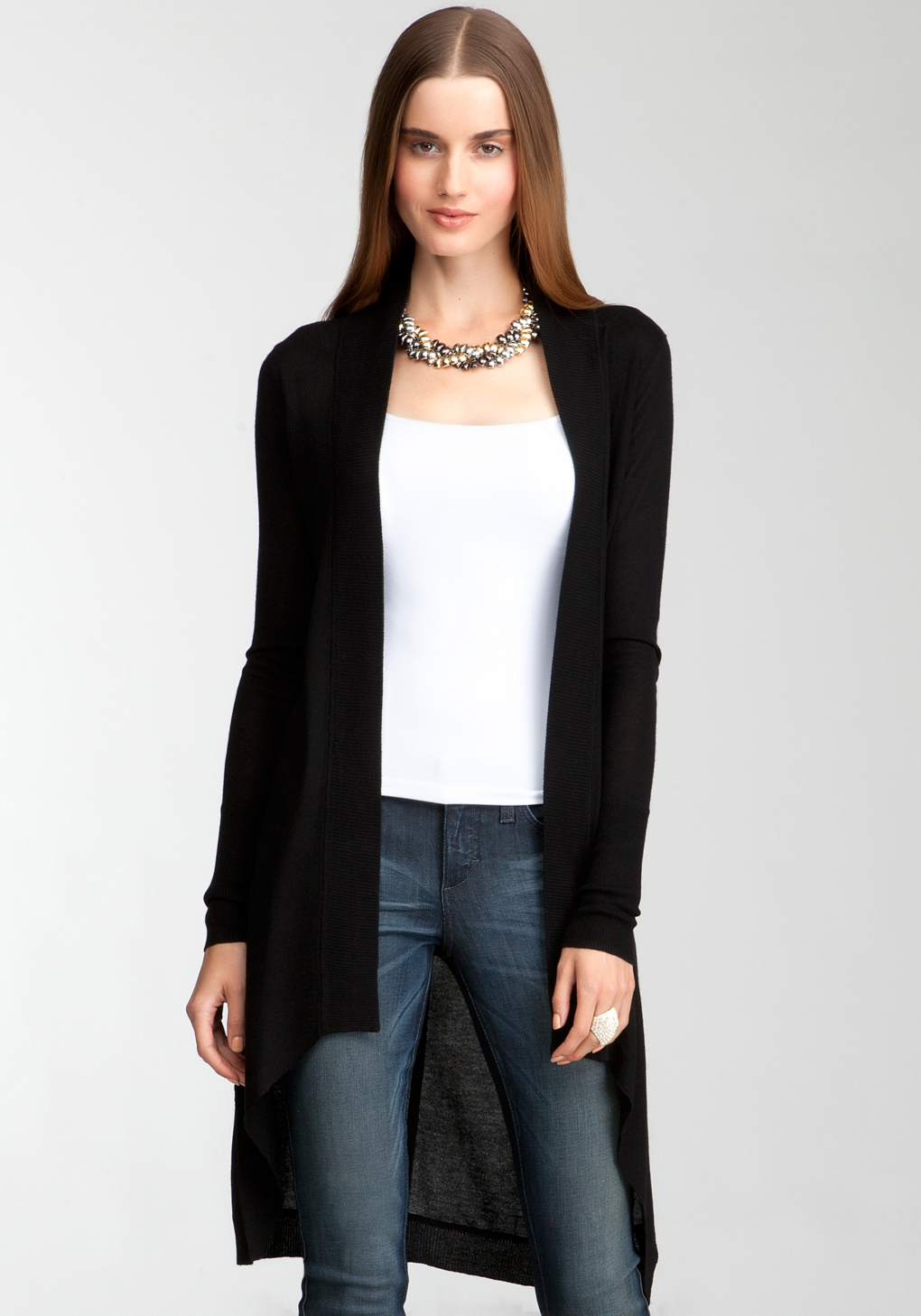 Bebe Rib Trimmed Long Cover Up Sweater in Black | Lyst
